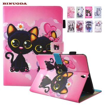 For Coque Samsung Galaxy Tab Cat Printed Folio Flip PU Leather Kickstand Tablet Cover