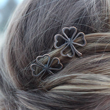 Four Leaf Shamrock Bobby Pins, Set of Two, Four Leaf Clover Bobby Pin, Copper Shamrock, Four Leaves, Luck of the Irish