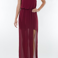 Wine Slit Sleeveless Maxi