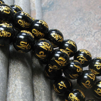 Om Mani Padme Hum Agate Beads 10 mm, full strand - Item B0015