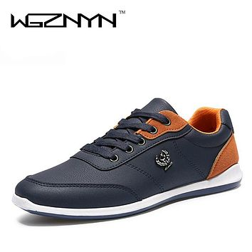 WGZNYN New 2017 Fashion Men Casual Shoes Autumn PU Leather Men Shoes Lace Up Flats Plimsolls Male Footwear NX0405