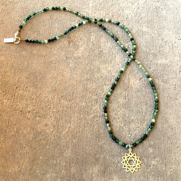 Fine Faceted Moss Agate and Sterling Silver 'Heart Chakra' Pendant Necklace