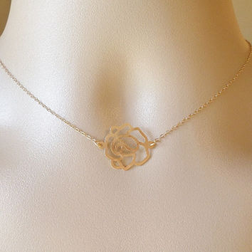Rose Necklace - Gold Rose Connector Necklace - Small or Large Rose Necklace- Gold Necklace - Gold Flower Jewelry - Christmas Gift