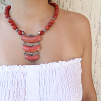 Red Coral Sterling Silver Jewelry Necklace. Red Coral Frame Sterling Silver Of 925- Feminine, Handmade, OOAK, Choker Necklace
