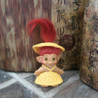 """Handmade Crochet Troll Outfit Dress Undies & Hat Yellow Clothes fit 2.5"""" - 2.75"""" vintage trolls"""