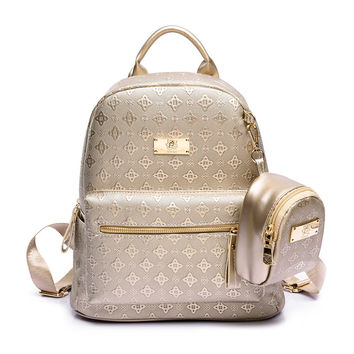 Luxury  Women Backpack with Purse Bag Female Leather Embossing