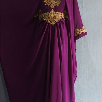 Bridesmaid Wedding Dubai Bright Burgundy Purple Kaftan Dress, kaftan dress, Summer Party Dress, Moroccan Maxi Kaftan Maternity Dress