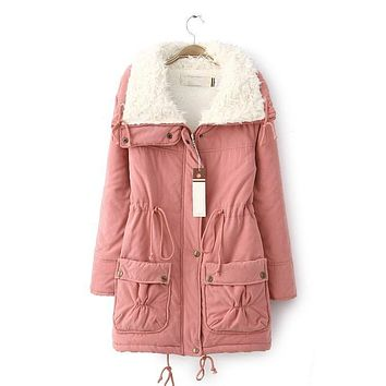 hot 2016 winter cotton coat women slim plus size outwear medium-long wadded jacket thick hooded cotton wadded warm cotton parka