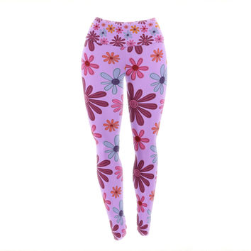 "Jane Smith ""Woodland Floral"" Purple Flowers Yoga Leggings"