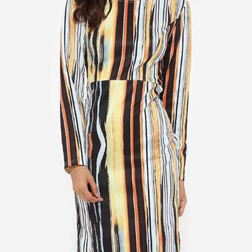 Fashion Yellow Striped Printed Long Sleeve High-waisted Midi Pencil Dress Plus Size