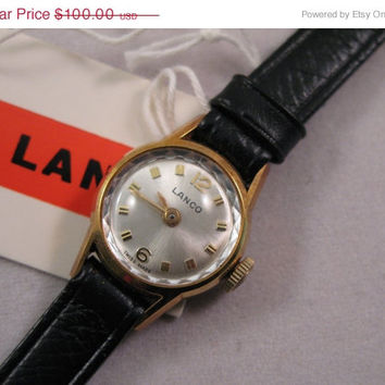 ON SALE LANCO Vintage Swiss Watch 4026 - Ellegant Ladies Wristwatch - New in Box with tags - 1970's