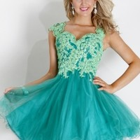 Rachel Allan 6698 - Emerald Lace Empire Homecoming Dresses Online