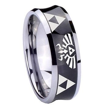 8mm Legend of Zelda Concave Black Tungsten Carbide Mens Ring Personsized