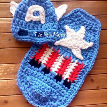 Super hero cape and hat set of Captain America baby, photo prop, robin, infant costume, baby shower gift