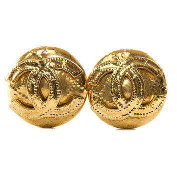 Authentic Chanel vintage clip on Gold-tone earrings 1994