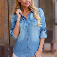 Essential Chambray Top - Dark Wash