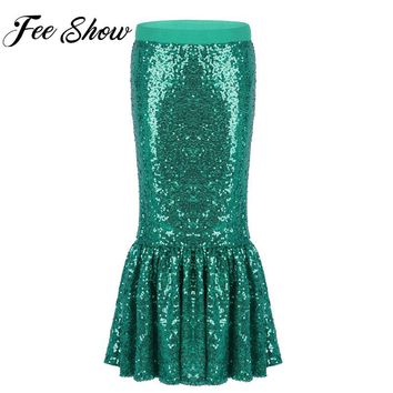 Kids Girls Mermaid Halloween Cosplay Costume Fancy Party Sequins Long Green Tail Skirt  Little Mermaid Ariel