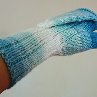Convertible Mittens Blue Fingerless Gloves, Hand Knit convertable gloves,Long Arm Warmers,Vegan gloves, Gifts For Her ,Knit Wrist Warmers