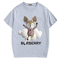 Burberry New fashion letter mouse print couple top t-shirt Gray