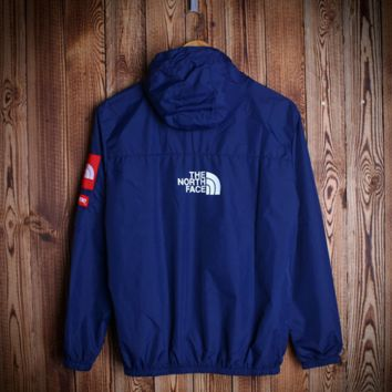 Solid Color Navy Blue Lightweight Jacket Hooded Outwear