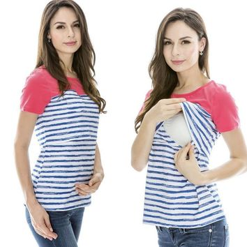 Women Cotton Short Sleeve T-shirt Maternity Clothes Summer Maternity Tops Breastfeeding T-shirt For Pregnant Women Nursing Tops