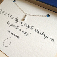 Silver Dewdrop Charm Necklace With Keats Poem Quote