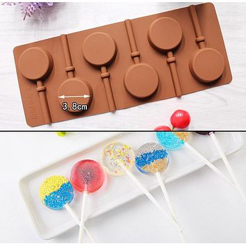 Silicone Round Lollipop Cake Chocolate Pudding Jelly Candy Ice Cookie Biscuit Mold Mould Pan Bakeware HG99