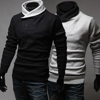 Winter Men Pullover Hoodies Korean Slim Black Jacket [6528648771]
