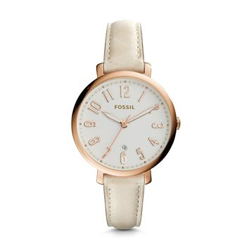 Jacqueline Date Leather Watch, Cream | FOSSIL