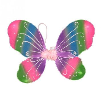Girls Fairy Colorful Butterfly Wings Show Props Fancy Dress Kids Halloween Party Dressing Up Costume Props