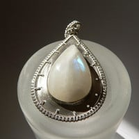 Moonstone Sterling silver pendant, metalwork wire wrapped necklace, OOAK jewelry