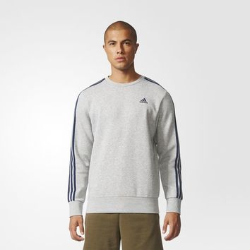 adidas Essentials 3-Stripes Crew Sweatshirt - Grey | adidas UK