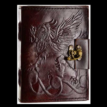 Gryphon Genuine Leather Blank Journal with Latch