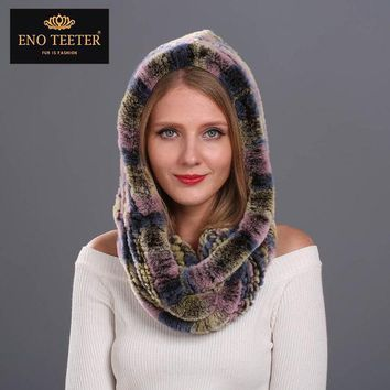 ICIKJG2 Winter Women Fur Scarves Muti-color  Natural Knitted Rex Rabbit Fur  Shawls  Real Fur Poncho  Hooded Scarves