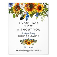 Rustic be my Bridesmaid | Navy Sunflower Boho Card