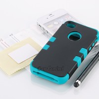 Apple iPhone 4 4S Hard Hybrid Case Cover Rubberize Black Blue Silicone TUFF + Screen Protector + Stylus