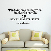 WALL DECAL VINYL STICKER ALBERT EINSTEIN QUOTE THE DIFFERENCE BEDROOM DECOR SB32