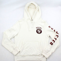 Hollister Cream Soft Fleece Hoodie with Burgundy Accents - Mens Medium