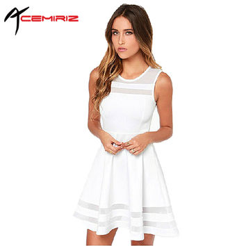 ACEMIRIZ 2017 Summer Dress Sleeveless Casual Vestidos Solid Fit Flare Sleeveless Women White Chiffon Party Dresses AWD0011