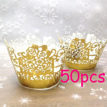 Metallic gold cupcake wrappers Stencil fancy flower wrapper flower wrapping Cupcake Wrappers cake wrapper wedding party wraps collars