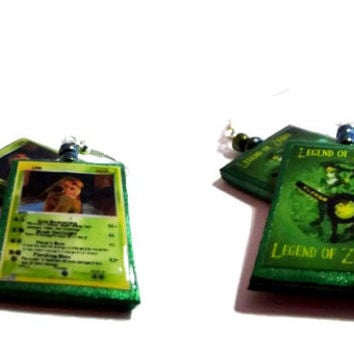 Legend of Zelda Link Pokemon Card Earrings 2 Sided, Silver Toned, Silver Plated, 22k Gold Plated, Gamer Jewelry, Glass Beads