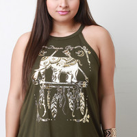 Metallic Dream Big Graphic Print Tank Top