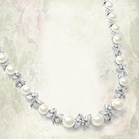 Luxurious Pearl and CZ Bridal Necklace from LucyAlia's Bridal Closet