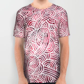 Burgundy and white doodles All Over Print Shirt by Savousepate