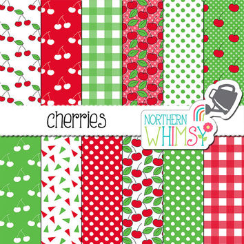 Cherry Digital Paper - hand drawn seamless patterns in red and green - cherry, polka dot, and gingham scrapbook paper - commercial use