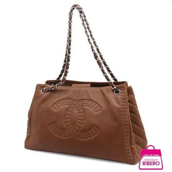 Auth CHANEL Cocomark A 67172 Chain Shoulder Women lambskin tote bag