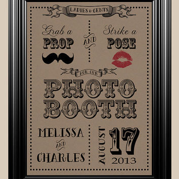 8x10 Photo Booth Prop Pose Moustache Vintage Rustic Wedding Sign
