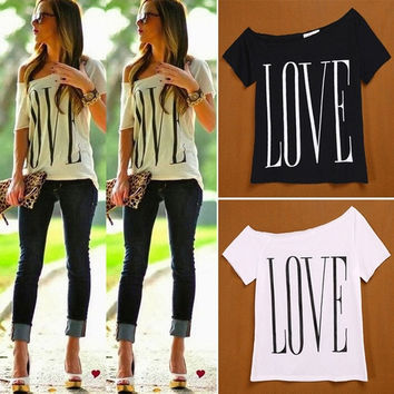 Women New Fashion Sexy Big Scoop Neck Letter LOVE Print Loose Short Sleeves Shirt Casual T Shirt Tops Clothing = 1956767556