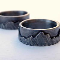 mountain range ring set, outdoor wedding ring black silver promise rings, nature wedding bands for him and her, silver mountain rings unisex
