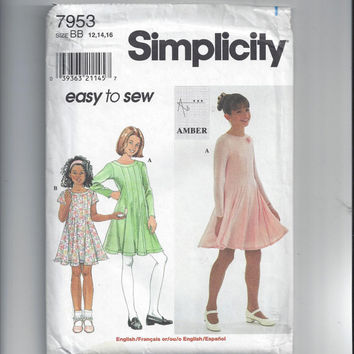 Simplicity 7953 Pattern for Girls' Easy to Sew Knit Dresses, Size 12, 14, 16, FACTORY FOLDED & UNCUT, From 1997, Amber Design
